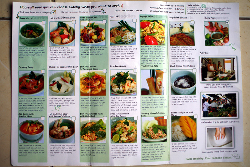 Flier for the Basil Healthy Thai Cookery School in Chiang Mai, Thailand