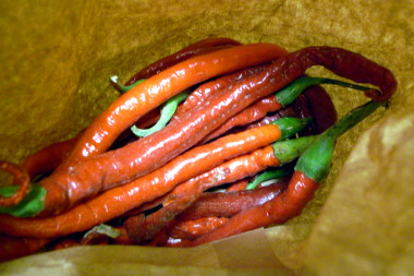 Chili peppers in a paper bag