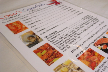 Coco's Crawfish menu