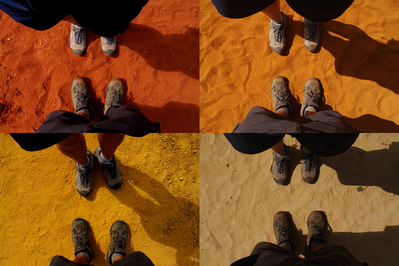 Collage of 4 shades of ocher sand: red, orange, yellow, and white, at the Colorado Provençal near Rustrel, France