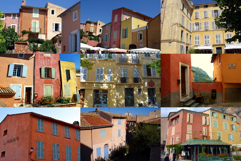 Collage of 9 photos of Provençal building facades