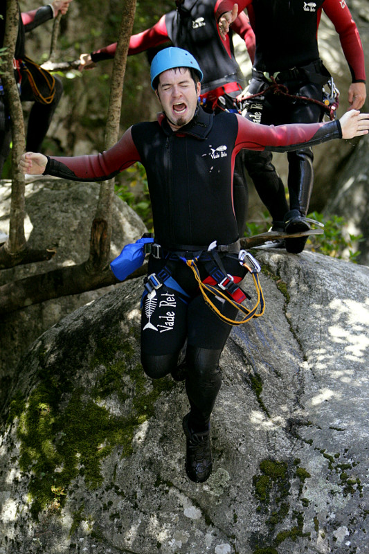 Justin jumping of a 4 meter cliff in Corsica