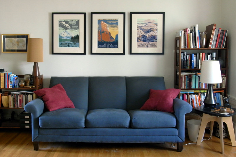My couch with new national park prints