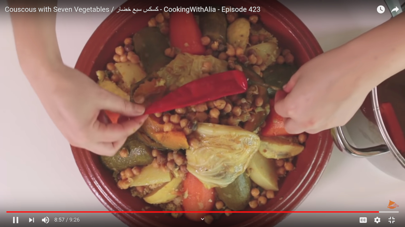 Screenshot from Couscous with Seven Vegetables by Cooking With Alia