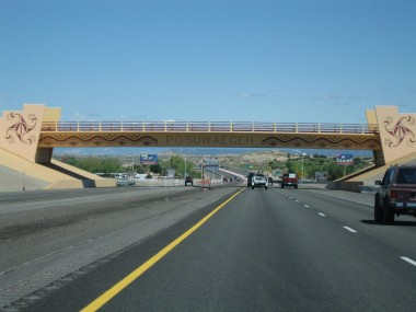 another painted overpass north of santa fe (possibly on a reservation)