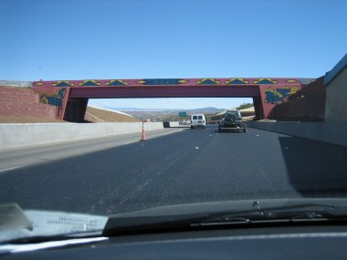 leaving santa fe to the north, the overpasses were spectacularly decorated