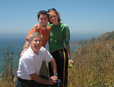 Dad, Justin, and Stephanie on the California coast