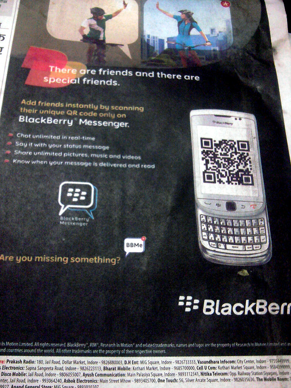 A photo of the Blackberry India ad on the front page of Dainik Bhaskar from May 7, 2011, showing my QR Code