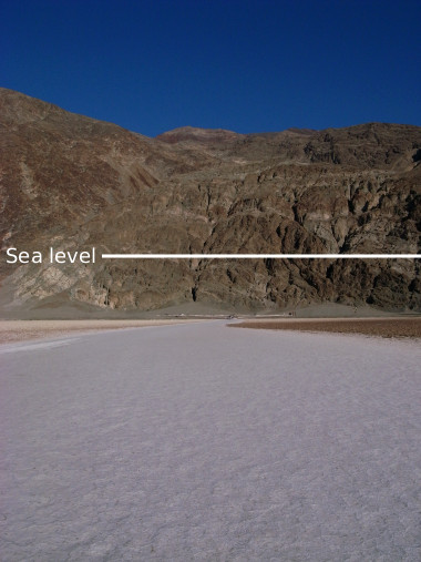 Line making sea level above Badwater Basin