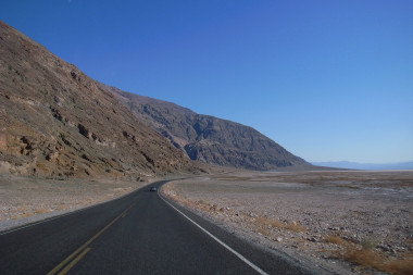 Driving towards Badwater Basin