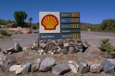 Gasoline price-gouging in Panamint Valley, prices in nearby Death Valley were 50 cents/gallon cheaper