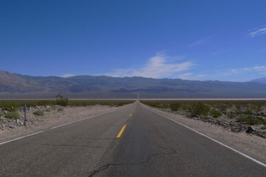 The road cutting across Panamint Valley