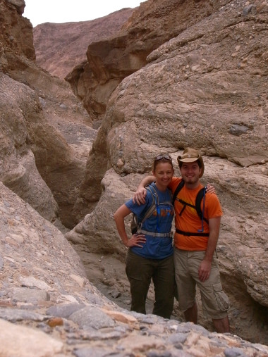 Stephanie and Justin pose in Mosaic Canyon