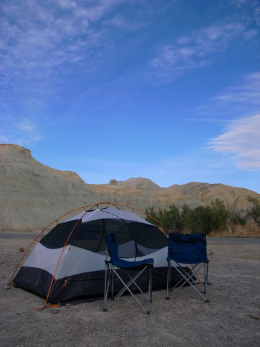 Tent and chairs at the Texas Spring campground in Death Valley National Park