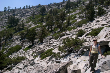The 'trail' up Horsetail Falls in Desolation Wilderness