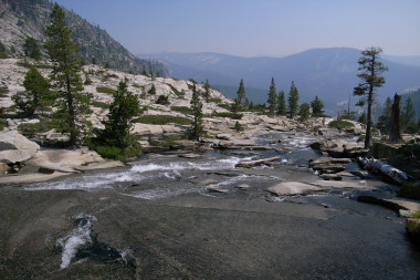 View from the top of Horsetail Falls in Desolation Wilderness