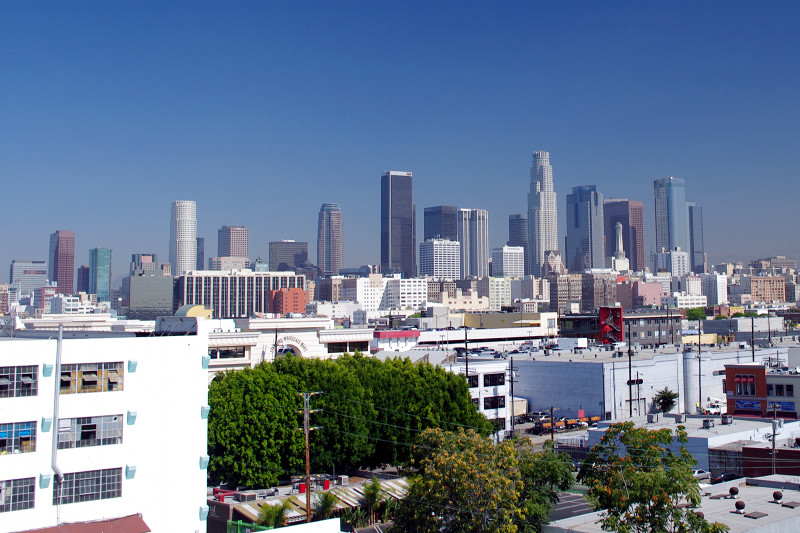 View of downtown Los Angeles skyline, from Leona's loft
