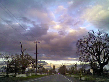 Drive home from work along Occidental Road, Sebastopol, CA