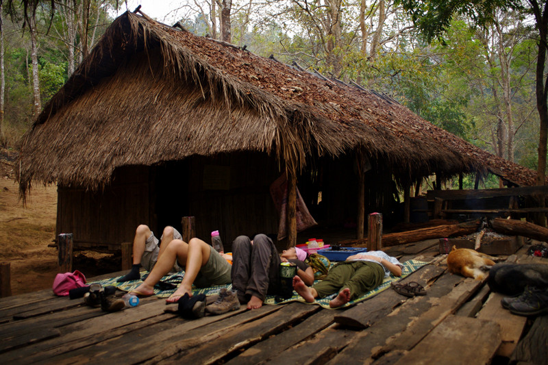 Volunteers laying down on the Elephant Haven treehouse at Elephant Nature Park in Chiang Mai, Thailand