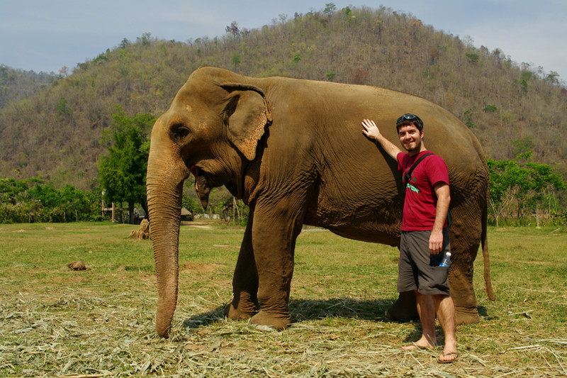 Justin posing with one of the elephants at Elephant Nature Park in Chiang Mai, Thailand