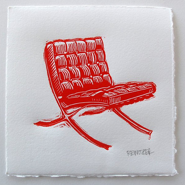 Eric Rewitzer's red barcelona chair linocut on SFGate