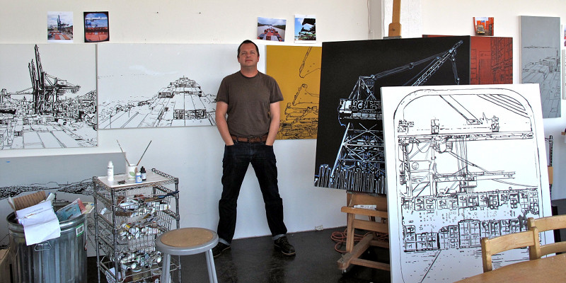 Eric Rewitzer with his PANAMAX paintings, outlined
