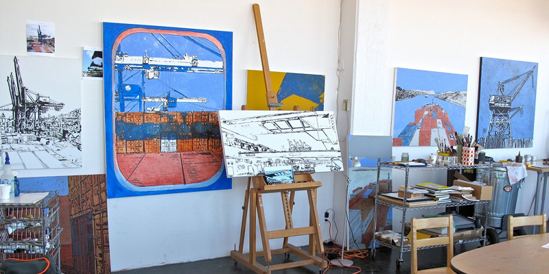Eric Rewitzer with his PANAMAX paintings, undercolored