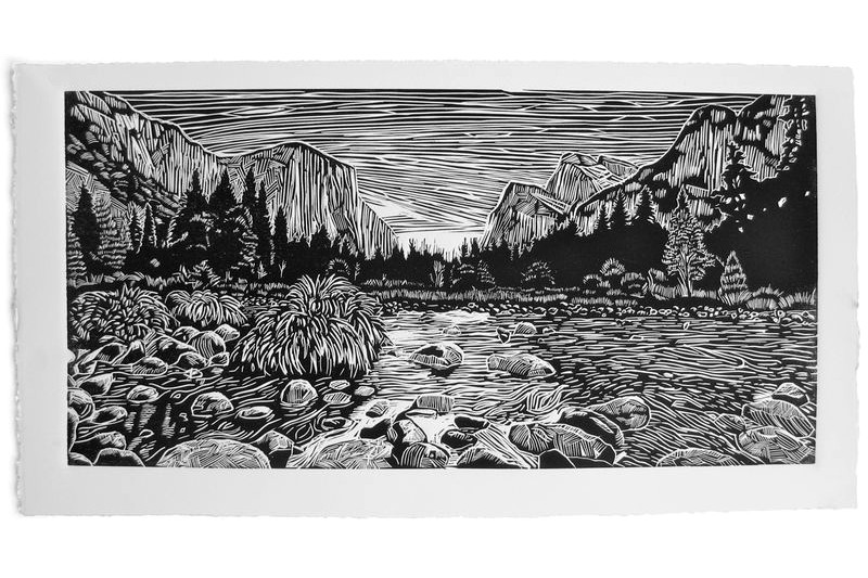 Yosemite Valley linocut print by Eric Rewitzer