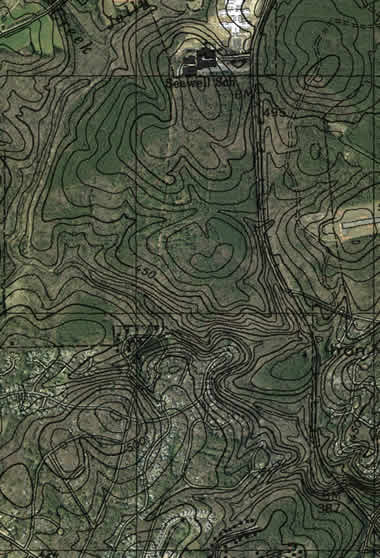 contour map of estes trail area overlayed on sat