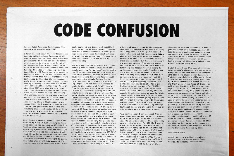 Code Confusion by Justin Watt, from Fabrikzeitung #285 Quick Response