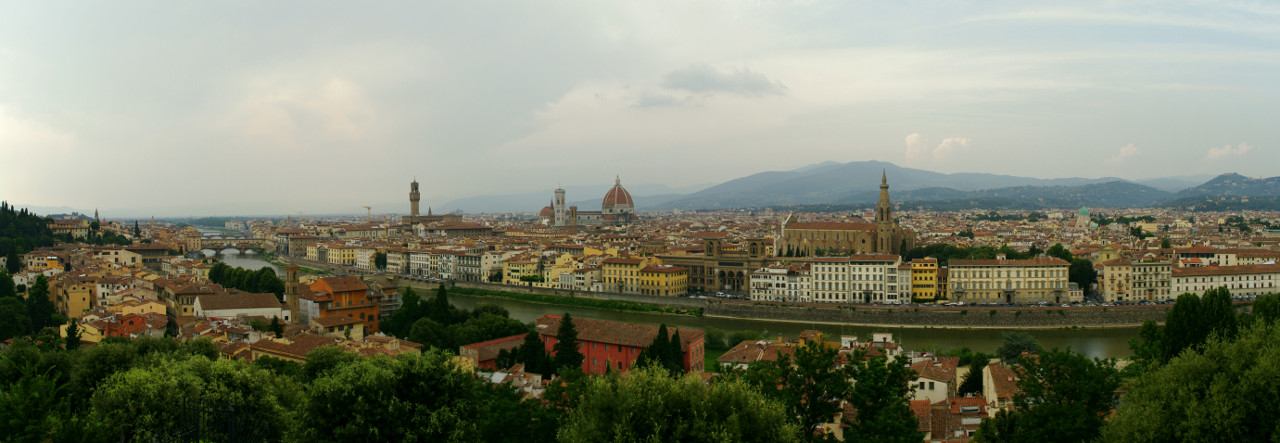 Panorama of the Florence (Firenze), Italy skyline in the early evening