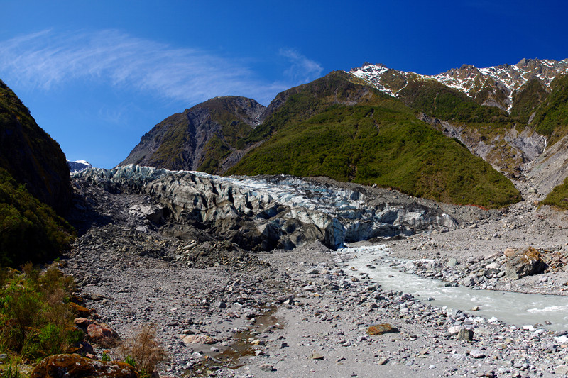 A view of Fox River emerging from Fox Glacier, from the end of the glacier view trail