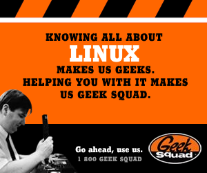 Geek Squad parody ad: Knowing all about Linux makes us geeks. Helping you with it makes us Geek Squad.