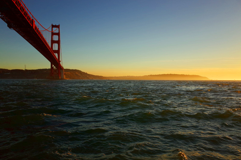 Golden Gate Bridge and Land's End at sunset