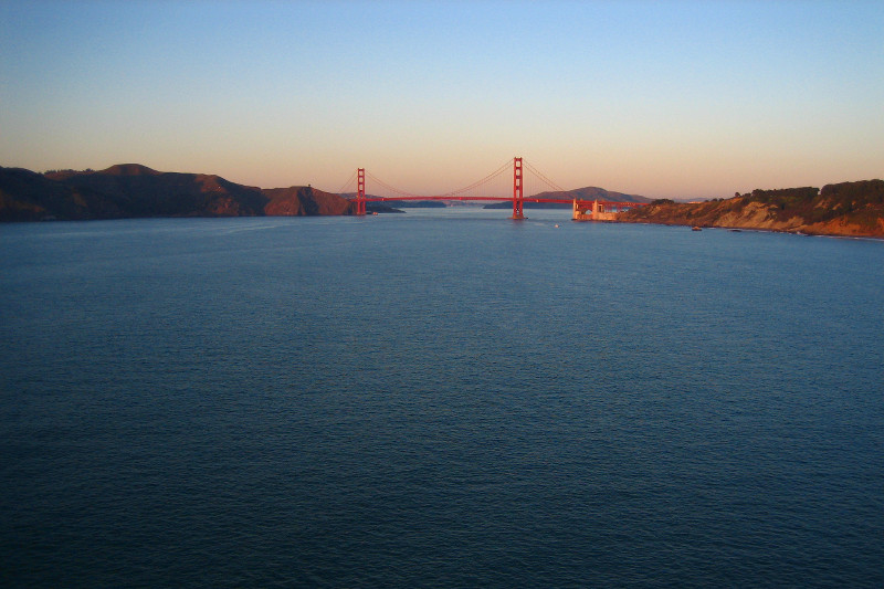 The Golden Gate Bridge from Land's End at sunset