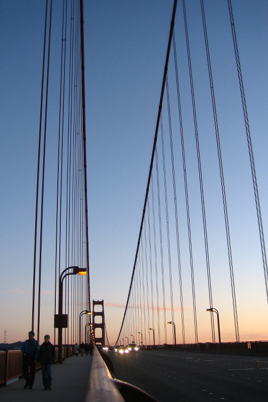 Golden Gate Bridge's cables at dusk