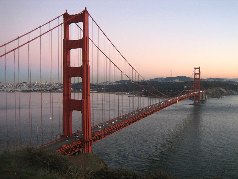 Golden Gate Bridge from Battery Point at dusk