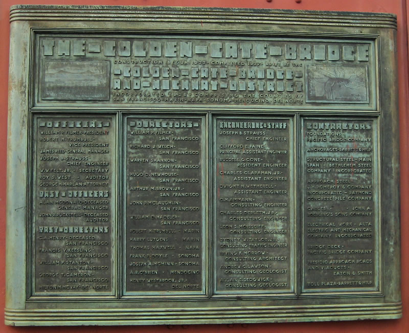 bronze plaque on the South Tower of the Golden Gate Bridge