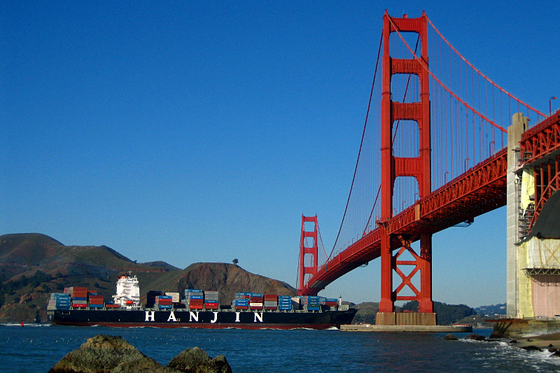 Hanjin container ship passing underneath the Golden Gate Bridge