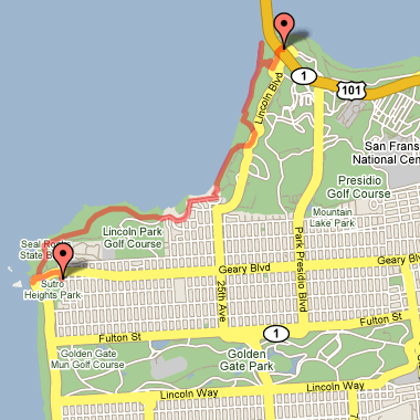Map of hike from Golden Gate Bridge to the Cliff House