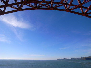 Looking out from the Golden Gate, framed by the Golden Gate Bridge