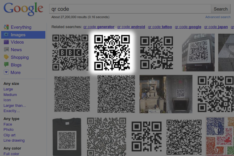 Google Images results page for 'qr code' highlighting a result that points to justinsomnia.org