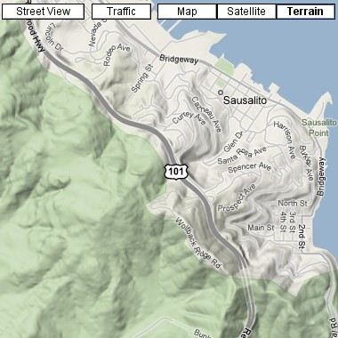 Google Maps Terrain view of Sausalito, CA