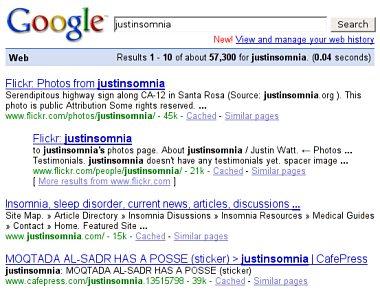 Google search for 'justinsomnia'