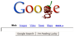 Google's 2007 Valentine's Day logo missing the letter L