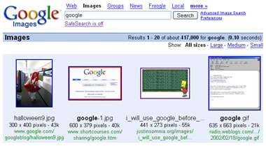 screenshot of google images results for google as the search query