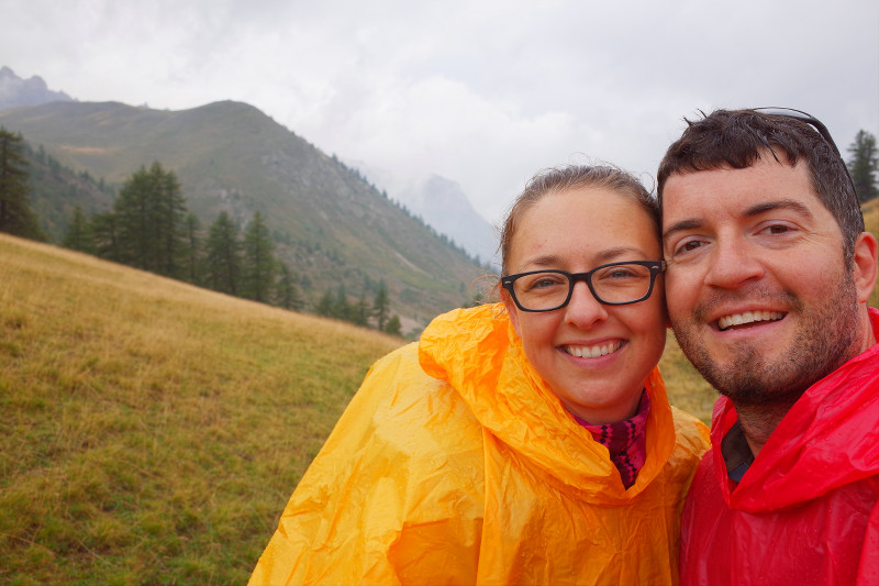 Stephanie and Justin in ponchos on the GR5