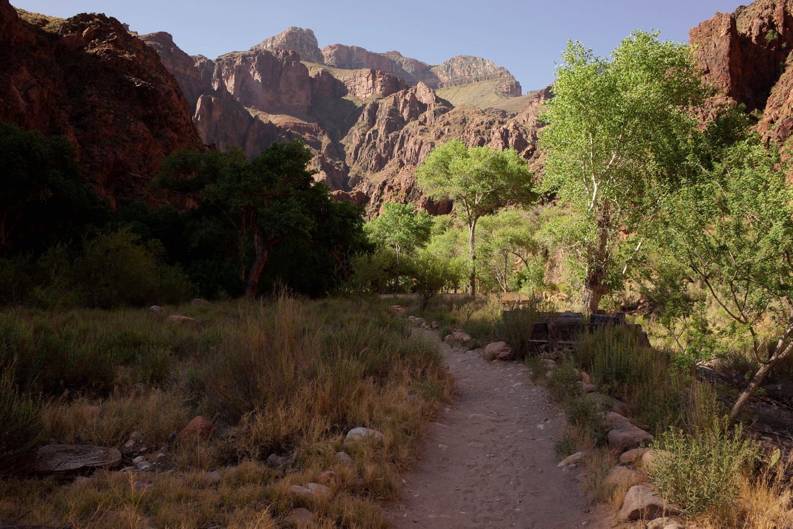 North Kaibab Trail between Phantom Ranch and Bright Angel Campground