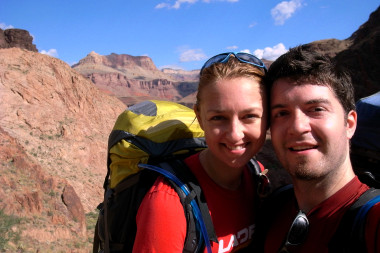 Stephanie and Justin still smiling as we hike up the Bright Angel Trail