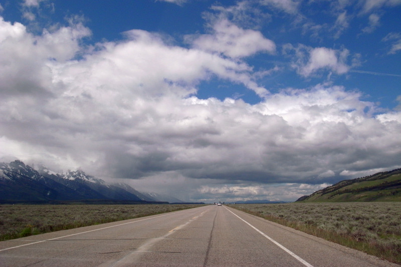 Driving into Grand Teton National Park